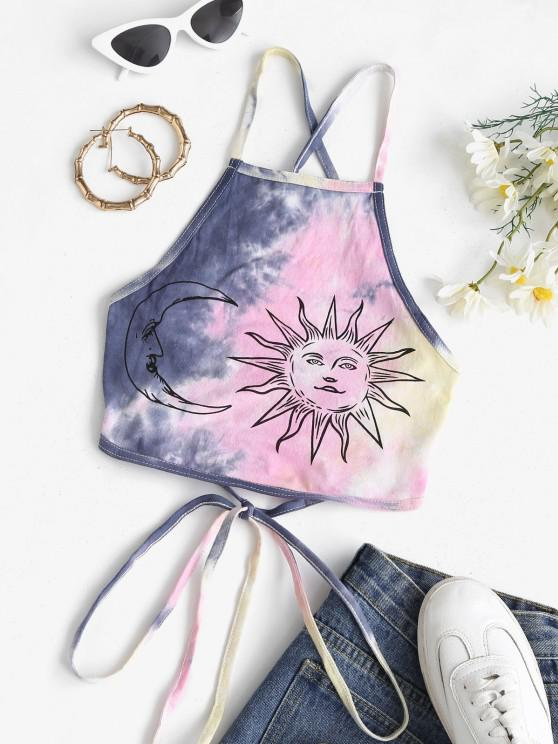 trendy Criss Cross Lace Up Tie Dye Sun Crop Top - DEEP BLUE S