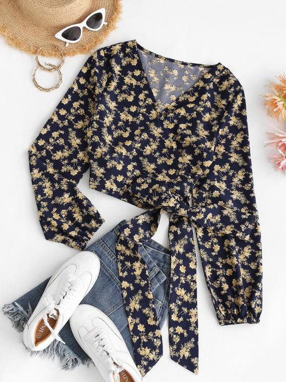 fashion Cropped Tiny Floral Wrap Blouse - DEEP BLUE L