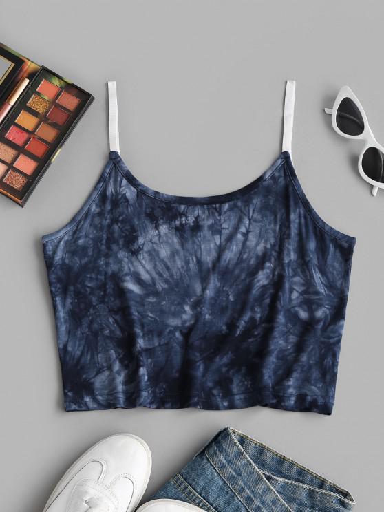 Kurzes Cami Oberteil mit Batikmuster - Tiefes Blau L