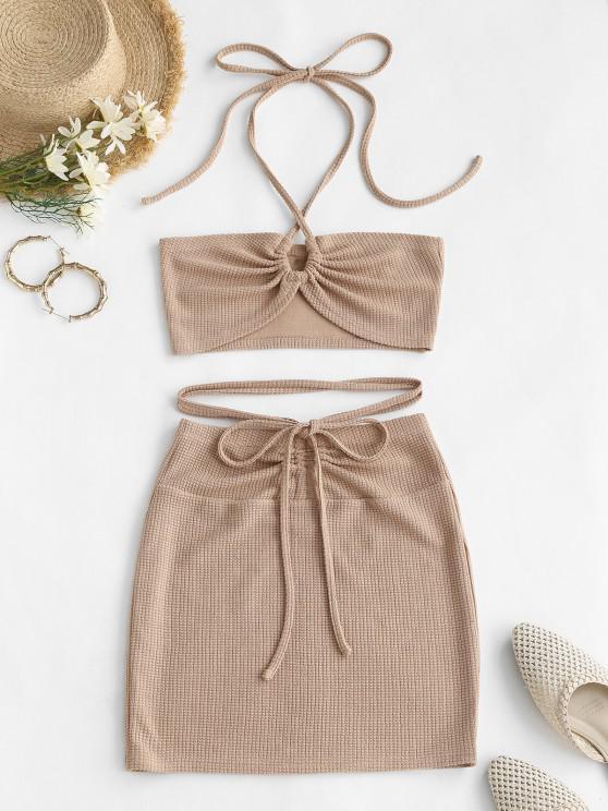 shops ZAFUL Cinched Cutout Crisscross Knitted Two Piece Dress - LIGHT COFFEE M