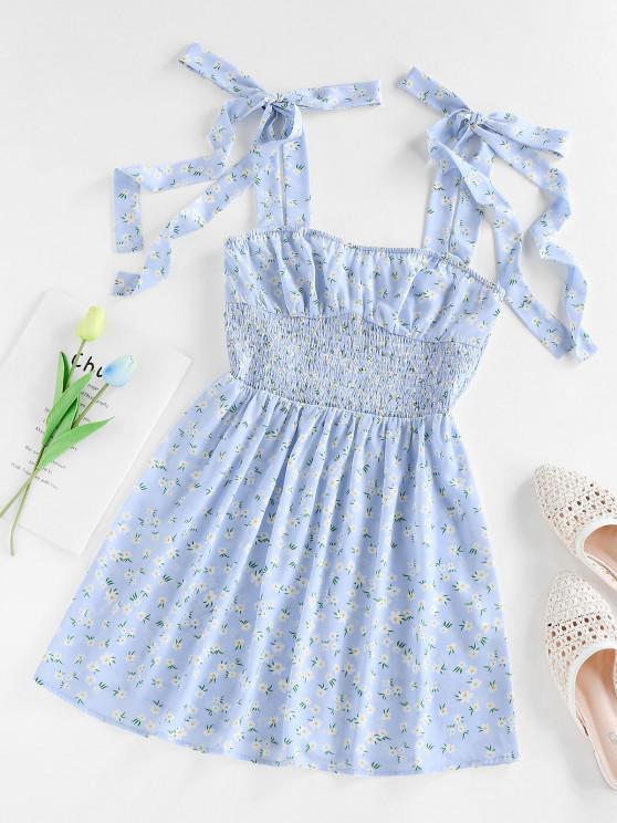 ZAFUL Robe Fleur Plissée Epaule Nouée à Taille Empire - Bleu clair S