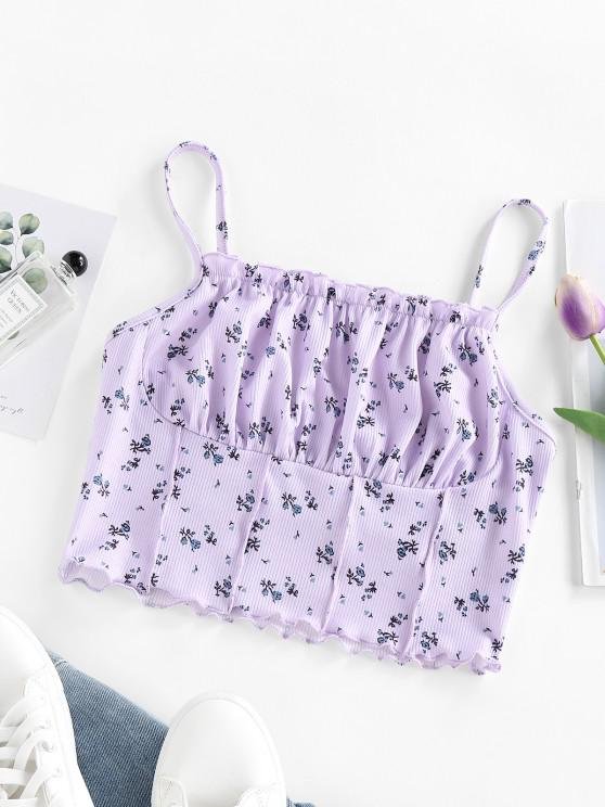 buy ZAFUL Floral Ribbed Ruched Lettuce Cami Top - LIGHT PURPLE M