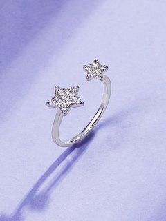 Strass Eingelegten Doppel Stern Finger Ring - Silber