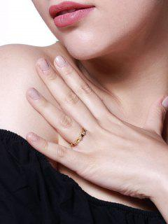 Heart-Shaped Zircon Inlaid Plated Finger Ring - Golden Us 9