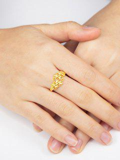 Golden Leaf Hollow Out Adjustable Finger Ring - Golden Resizable