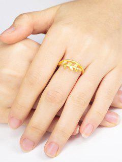 Leaf Adjustable Gold-Plated Finger Ring - Golden Resizable