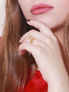Golden Interlocked Heart Rhinstone Inlaid Adjustable Ring - Golden Resizable