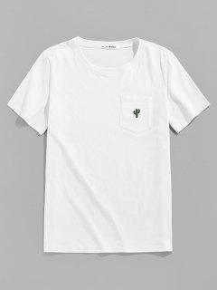 ZAFUL Pocket Cactus Embroidery T Shirt - White S
