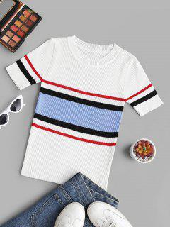 Ribbed Knitted Colorblock Stripes Tee - White