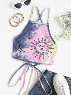 Criss Cross Lace Up Tie Dye Sun Crop Top - Deep Blue M