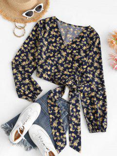 Cropped Tiny Floral Wrap Blouse - Deep Blue M