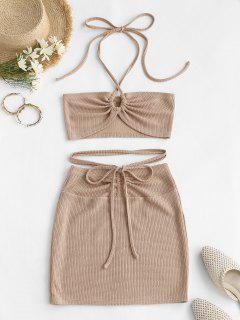 ZAFUL Cinched Cutout Crisscross Knitted Two Piece Dress - Light Coffee M