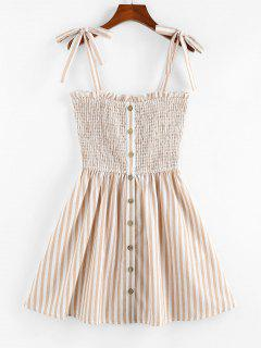 ZAFUL Striped Pattern Shirring Mini Dress - Light Coffee S