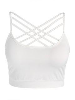 Plus Size Strappy Crisscross Sports Crop Top - White L