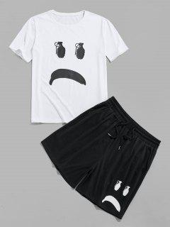 ZAFUL Cartoon Face T-shirt And Shorts Two Piece Set - Black S