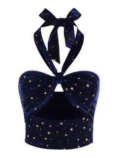 ZAFUL Top Corta De Terciopelo Con Estampado De Estrella - Azul Profundo L