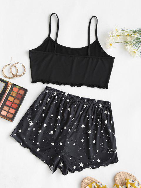 best Lounge Dotted Star Moon Two Piece Set - BLACK XL Mobile