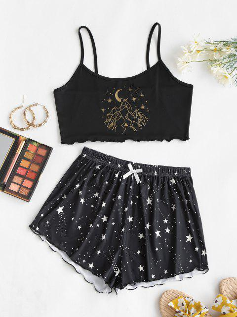ladies Lounge Dotted Star Moon Two Piece Set - BLACK L Mobile
