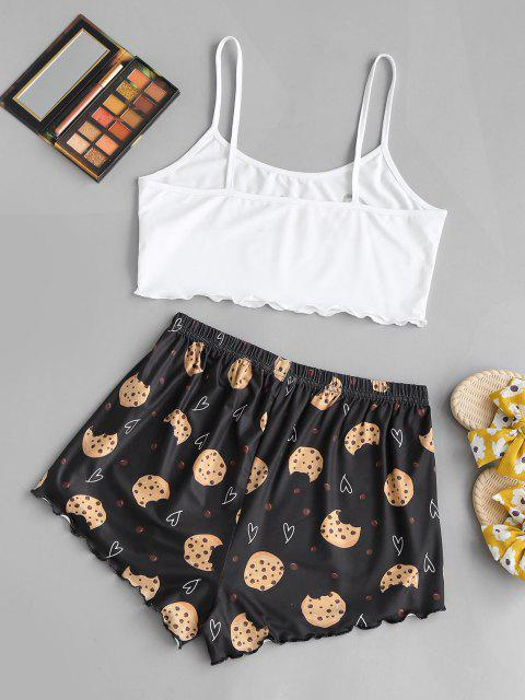 shop Valentine Heart Cookie Graphic Two Piece Set - WHITE L Mobile