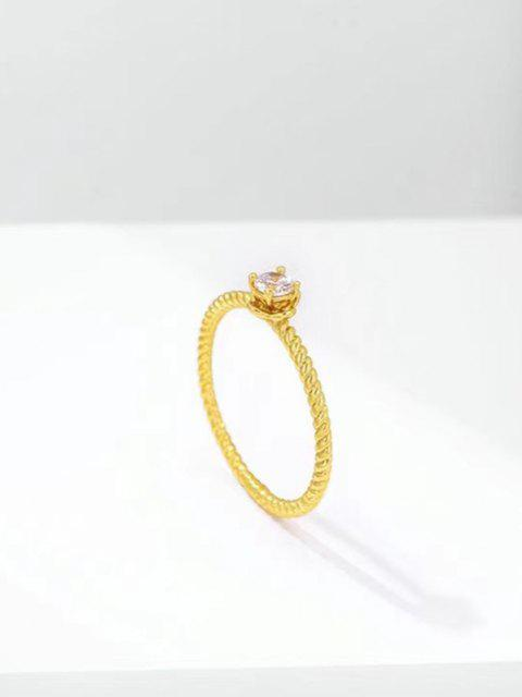 online Zircon Inlaid Twist Ring - GOLDEN US 9 Mobile
