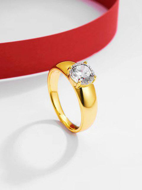 Single Zirkon Eingelegter Gold Vergoldeter Ring mit Vier Schubladen - Golden US 10 Mobile