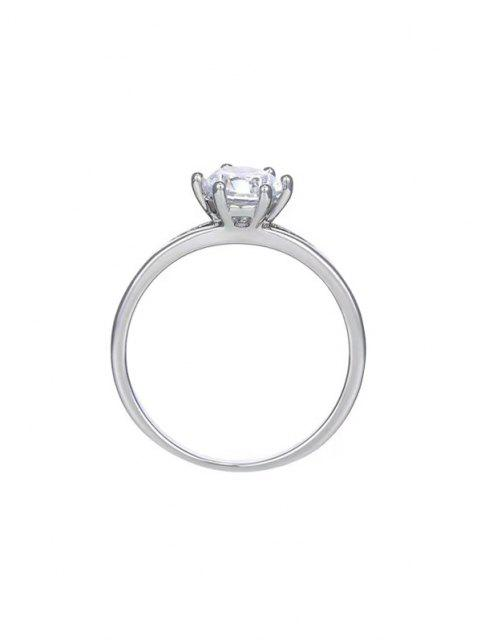 latest Zircon Split Shank Prong Set Ring - SILVER US 7 Mobile