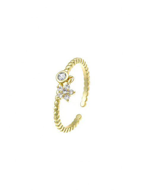 fashion Zircon Inlaid Star Plated Open Charm Ring - GOLDEN RESIZABLE Mobile