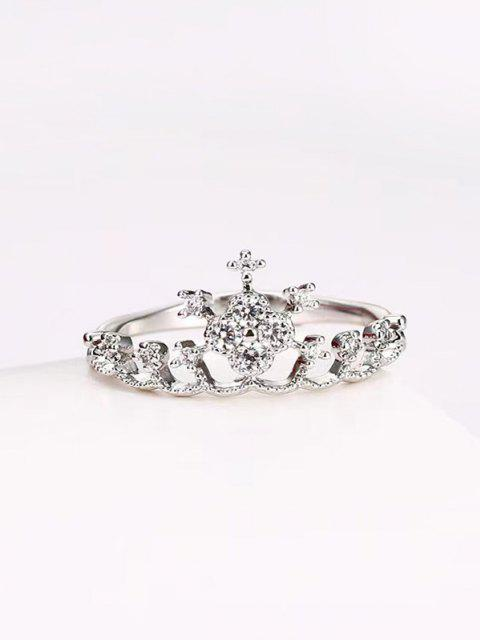 unique Crown Shape Rhinestone Ring - SILVER US 7 Mobile