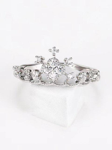 buy Crown Shape Rhinestone Ring - SILVER US 10 Mobile