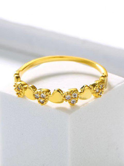 lady Heart-Shaped Zircon Inlaid Plated Finger Ring - GOLDEN US 8 Mobile