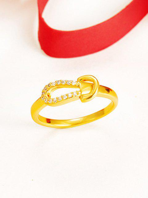 new Zircon Inlaid Plated Knot Finger Ring - GOLDEN US 9 Mobile