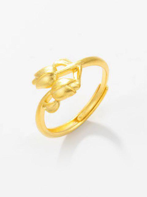 outfits Golden Double Rose Adjustable Finger Ring - GOLDEN RESIZABLE Mobile