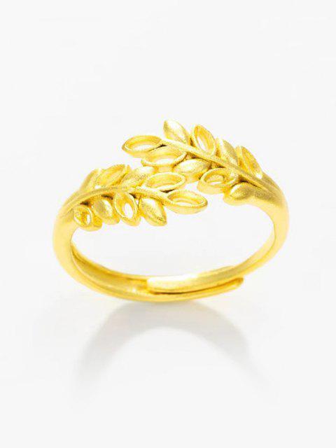 ゴールデンリーフアウト中空調整指輪 - ゴールデン RESIZABLE Mobile