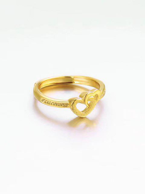 Anello di Barretta Del Cuore Della Disponibilità Dell'argento Sterlina - d'oro RESIZABLE Mobile