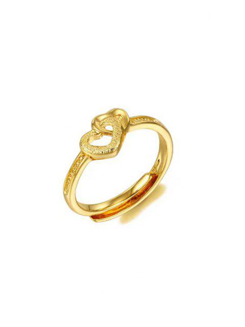 Golden Interlocked Heart Rhinstone Inlaid Adjustable Ring - ذهبي قابل للتغيير Mobile
