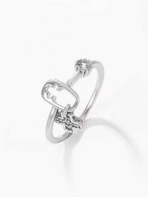 trendy Rhinestone Inlaid Plated Cut Out Cross Charm Ring - SILVER US 6 Mobile