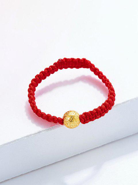 unique Crochet Textured Plated Golden Ball Ring - RED US 8 Mobile