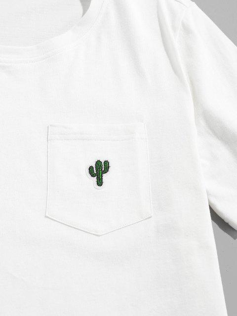 new ZAFUL Pocket Cactus Embroidery T Shirt - WHITE XL Mobile