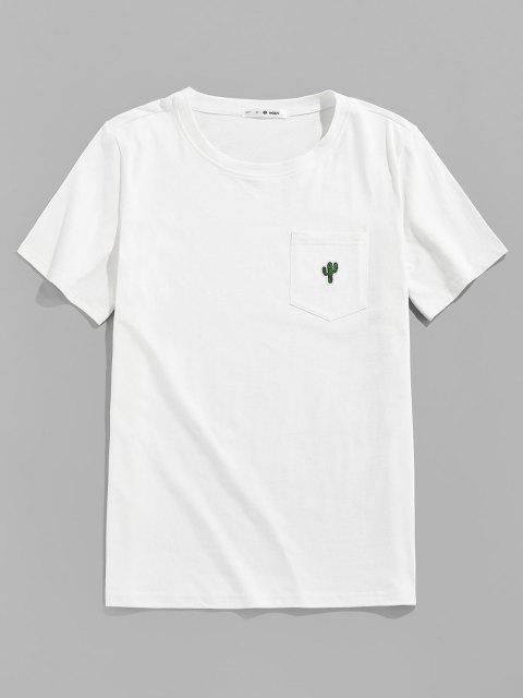 ZAFUL Pocket Cactus Embroidery T Shirt - أبيض L Mobile