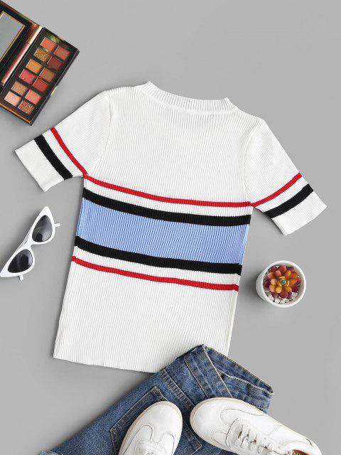 Ribbed Knitted Colorblock Stripes Tee - أبيض حجم واحد Mobile