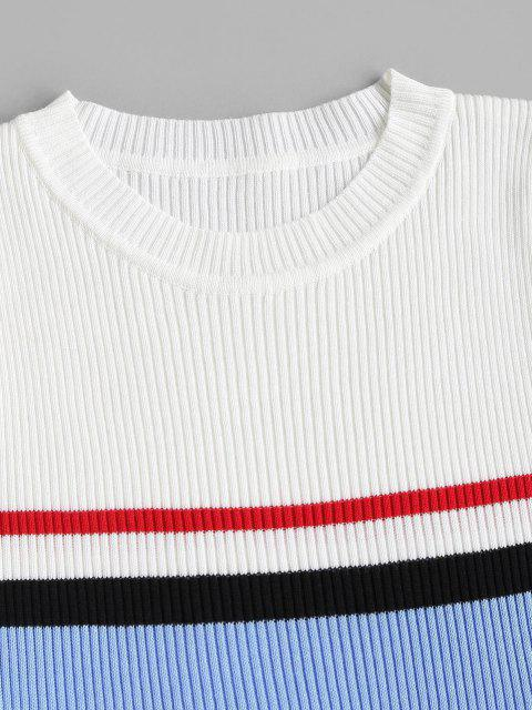 Camiseta Listrada Rugoso Bloco de Cores Listras - Branco Um Tamanho Mobile