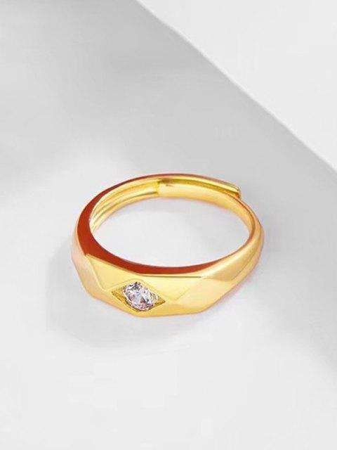 chic Rhombus Zircon Inlaid  Adjustable Gypsy Setting Ring - GOLDEN RESIZABLE Mobile