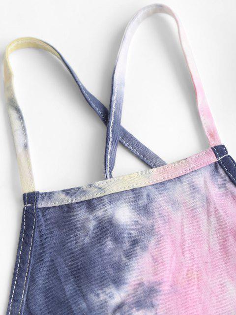 Crop Top di Tie-Dye con Lacci Incrociati - Profondo blu S Mobile