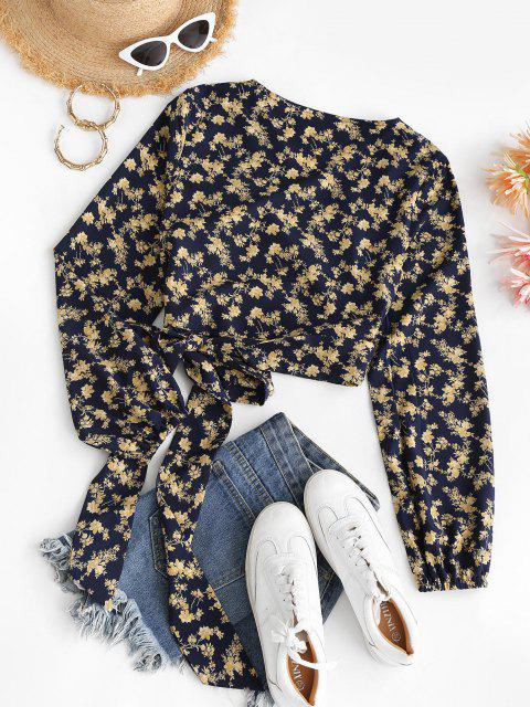 ladies Cropped Tiny Floral Wrap Blouse - DEEP BLUE M Mobile