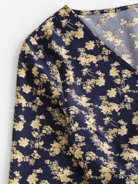 unique Cropped Tiny Floral Wrap Blouse - DEEP BLUE S Mobile