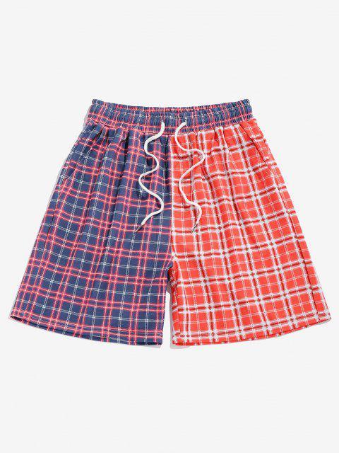 chic ZAFUL Plaid Colorblock Shorts - MULTI M Mobile