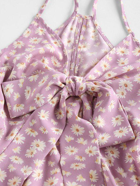 fancy ZAFUL Daisy Floral Printed Bowknot Slip Dress - LIGHT PINK S Mobile