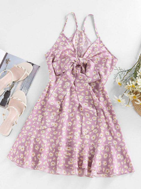 outfit Zaful Daisy Floral Printed Bowknot Slip Dress - LIGHT PINK M Mobile