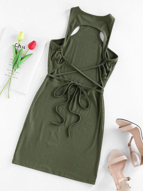 fancy ZAFUL Ribbed Open Back Cutaway Mini Bodycon Dress - GREEN S Mobile