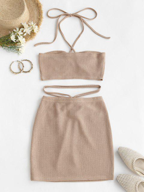 outfits ZAFUL Cinched Cutout Crisscross Knitted Two Piece Dress - LIGHT COFFEE S Mobile